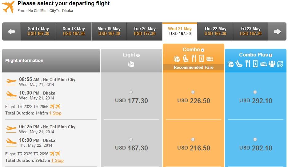 Thai Airways từ Hà Nội đi Bangladesh