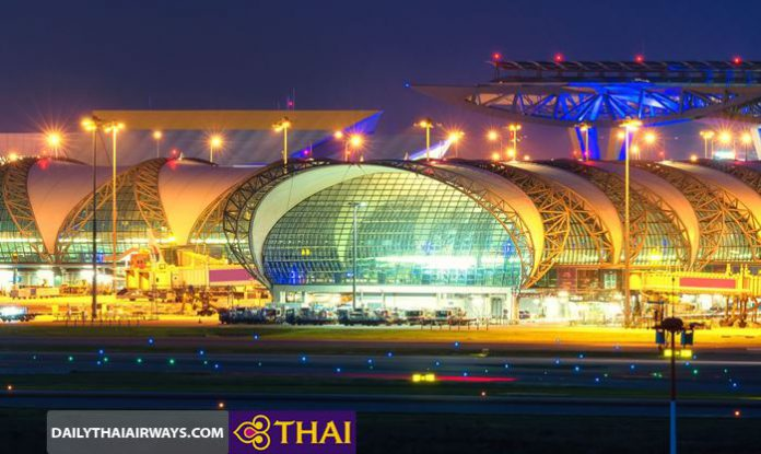 Toàn cảnh sân bay quốc tế Suvarnabhumi về đêm